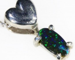 Black  Opal set in 18k white Gold Pendant  CF 1095