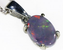 Black  Opal set in 18k white Gold Pendant  CF 1096