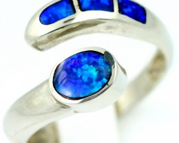 Adjustable Cute Inlay Opal 18k White Gold Ring SB 907