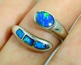 Adjustable Inlay Opal 18k White Gold Ring SB 912