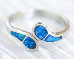 Adjustable Inlay Opal 18k White Gold Ring SB914