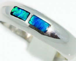 Cute Inlay Opal 18k White Gold Ring SB