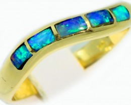Cute Inlay Opal 18k Yellow Gold Ring SB924