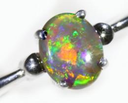 Solid Crysstal Opal 18k White Gold Engagement Ring SB927
