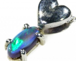 Black  Opal set in 18k white Gold Pendant  CF 1101
