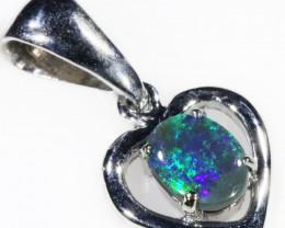 Black  Opal set in 18k white Gold Pendant  CF 1106
