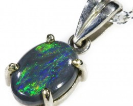 Black  Opal set in 18k white Gold Pendant  CF 1107