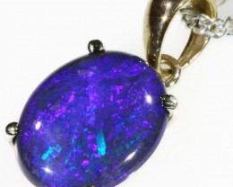 Black  Opal set in 18k white Gold Pendant  CF 1109