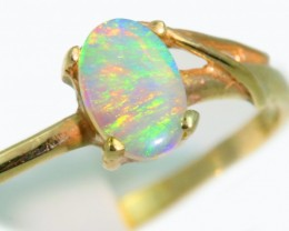 Solid Crystal Opal 10k Yellow Gold Ring SB938