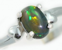 Solid Black Opal 18k White Gold Ring SB943