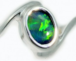 Solid Black Opal 18k White Gold Ring SB944