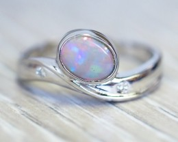 Solid Crystal Opal 18k White Gold Ring SB945