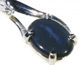 Black  Opal set in 18k white Gold Pendant  CF 1111