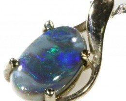 Black  Opal set in 18k white Gold Pendant  CF 1115