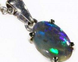 Black  Opal set in 18k white Gold Pendant  CF 1118