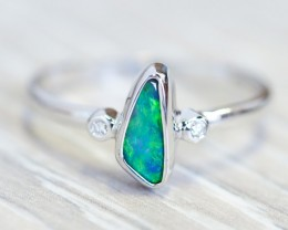 Solid Black Opal 18k White Gold Ring SB948