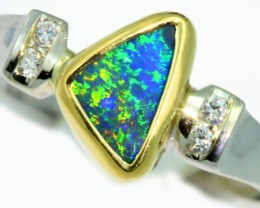 Solid Black Opal 18k White Gold Ring SB949