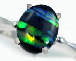 Solid Black Opal Engagement Ring SB950