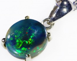 Black  Opal set in 18k white Gold Pendant  CF 1124