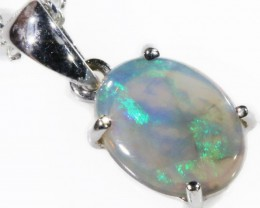Black  Opal set in 18k white Gold Pendant  CF 1126