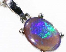 Black  Opal set in 18k white Gold Pendant  CF 1127