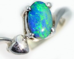 Solid Black crystal Opal Heart Engagement  Ring SB952