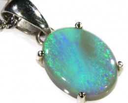 Black  Opal set in 18k white Gold Pendant  CF 1128