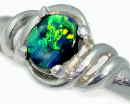 Solid Black Opal Engagement Platinum Ring SB953