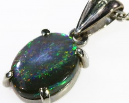 Black  Opal set in 18k white Gold Pendant  CF 1123
