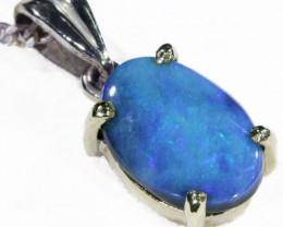 Black  Opal set in 18k white Gold Pendant  CF 1133