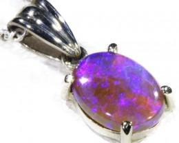Black Crystal Opal set in 18k white Gold Pendant  CF 1136