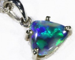 Black  Opal set in 18k white Gold Pendant  CF 1137