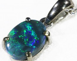 Black  Opal set in 18k white Gold Pendant  CF 1138