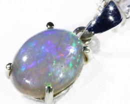 Black  Opal set in 18k white Gold Pendant  CF 1141