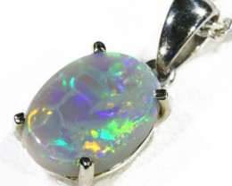 Black  Opal set in 18k white Gold Pendant  CF 1146