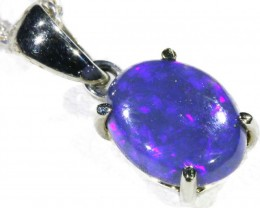 Black  Opal set in 18k white Gold Pendant  CF 1150