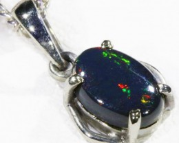 Black  Opal set in 18k white Gold Pendant  CF 1153