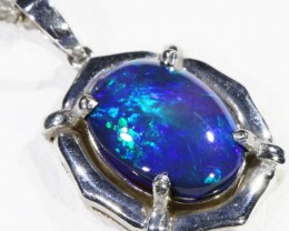 Black  Opal set in 18k white Gold Pendant  CF 1155
