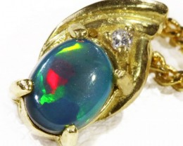 Black  Opal set in 18k  Gold Pendant  CF 1161