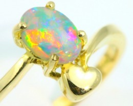 Gem Fire Solid Crystal Opal 18K Heart Gold Ring Sixe 7  SB956
