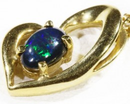 Black  Opal set in 18k  Gold Pendant  CF 1162