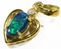 Black  Opal set in 18k  Gold Pendant  CF 1165