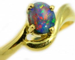 18k Gem Black Opal Yellow Gold Ring size 7 SB957