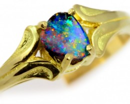 Solid Boulder Opal Yellow Gold Ring SB958