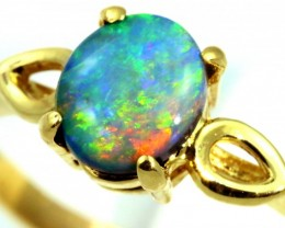 Gem Multi fire  Black Opal 18 kGold Ring size 7 SB959
