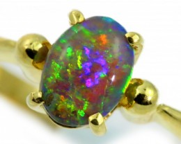 Amazing Black Crystal Opal Yellow Gold Ring size 7 SB960