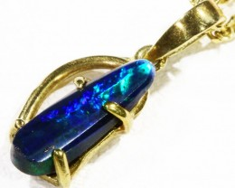 Black  Opal set in 18k  Gold Pendant  CF 1168