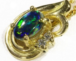 Black  Opal set in 18k  Gold Pendant  CF 1169