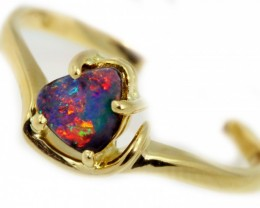 Solid Boulder Opal Yellow Gold Ring SB963