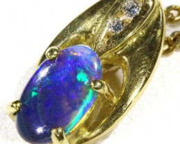 Black  Opal set in 18k  Gold Pendant  CF 1170